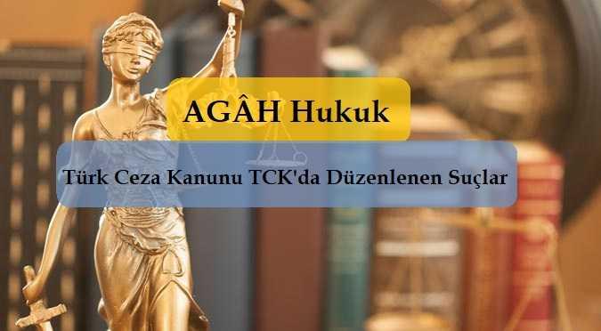 Türk Ceza Kanunu TCK'da Düzenlenen Suçlar